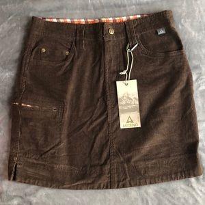 Ascend brown corduroy skirt NWT